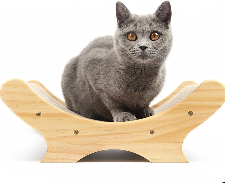 Aqi7 Solid Wood Corrugated Paper Bed Cat Scratch Board, Cat Scraper Mattress Sofa, UBed Cat Claw Care Toy