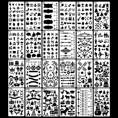 Koogel - 24 Hojas de Plantillas de Dibujo, Juego para Insignia para Diario de Bullet, Scrapbooking, Textil, Libro de visitas, Tarjetas de Regalo DIY