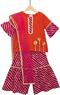 Hopscotch Girls Cotton Short Sleeves Sharara Set in Majenta Color