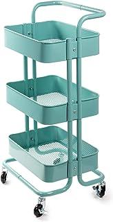 D4P Display4top Carrito con Bloquear Ruedas, Carrito Auxiliar con 3 Nivel para la Cocina, baño, Dormitorio de Almacenamiento (Turquesa)