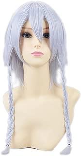 HOOLAZA Gray Short Straight Bangs With 2 Pigtails Cosplay Wig Izayoi Sakuya Koumakan Cosplay Wig