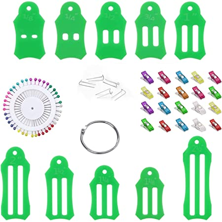 Jelly Roll Sasher Tool Set 10pcs Multi Sizes Sasher for Quilting Folding Fabric Tape Maker with 40pcs Quilting Pins and Storage Chain and 20pcs U-Pins