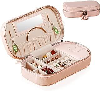 Seavish 超コンパクト ジュエリーボックス カワイイ 宝石箱 ジュエリー収納 アクセサリーケース 携帯用 旅行用 小物入れ レディース 鏡付き 贈り物 プレゼント