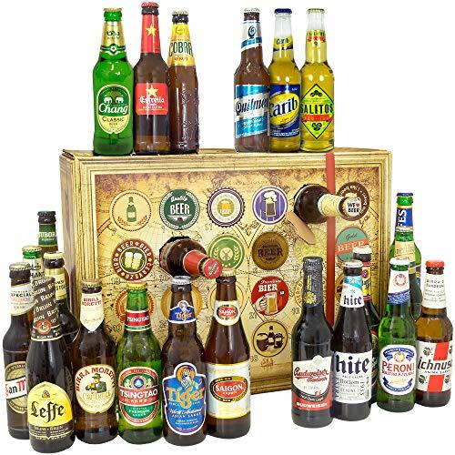 Bier Adventskalender Welt mit Saigon Export + Polar + Peroni + Quilmes Dark Lager + Estrella + mehr Adventskalender 2019 - mit 24 Biersorten in FLASCHEN + Bieradventskalender Welt 2019