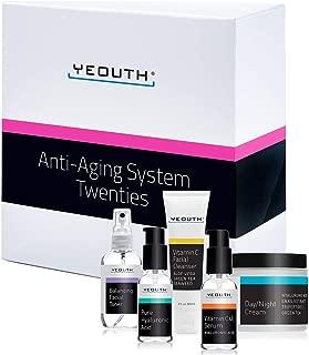 Anti-aging Kit Twenties - YEOUTH 5 Pack Anti aging Beauty Gift Set - Vitamin C Facial Cleanser - Balancing Toner for Face - Vitamin C & E Serum for Skin - Day Night Snail Cream Moisturizer