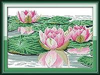 LovetheFamily クロスステッチキット DIY 手作り刺繍キット 正確な図柄印刷クロスステッチ 家庭刺繍装飾品 11CT ( インチ当たり11個の小さな格子)中程度の格子 刺しゅうキット フレームがない - 45×34 cm ロータス