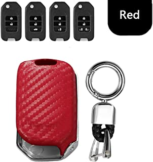 Car Remote Key Fob Shell Cover CaseCarbon Fiber+Galvanized Alloy for Honda Civic Accord Pilot CRV 2015 2016 2017 2018