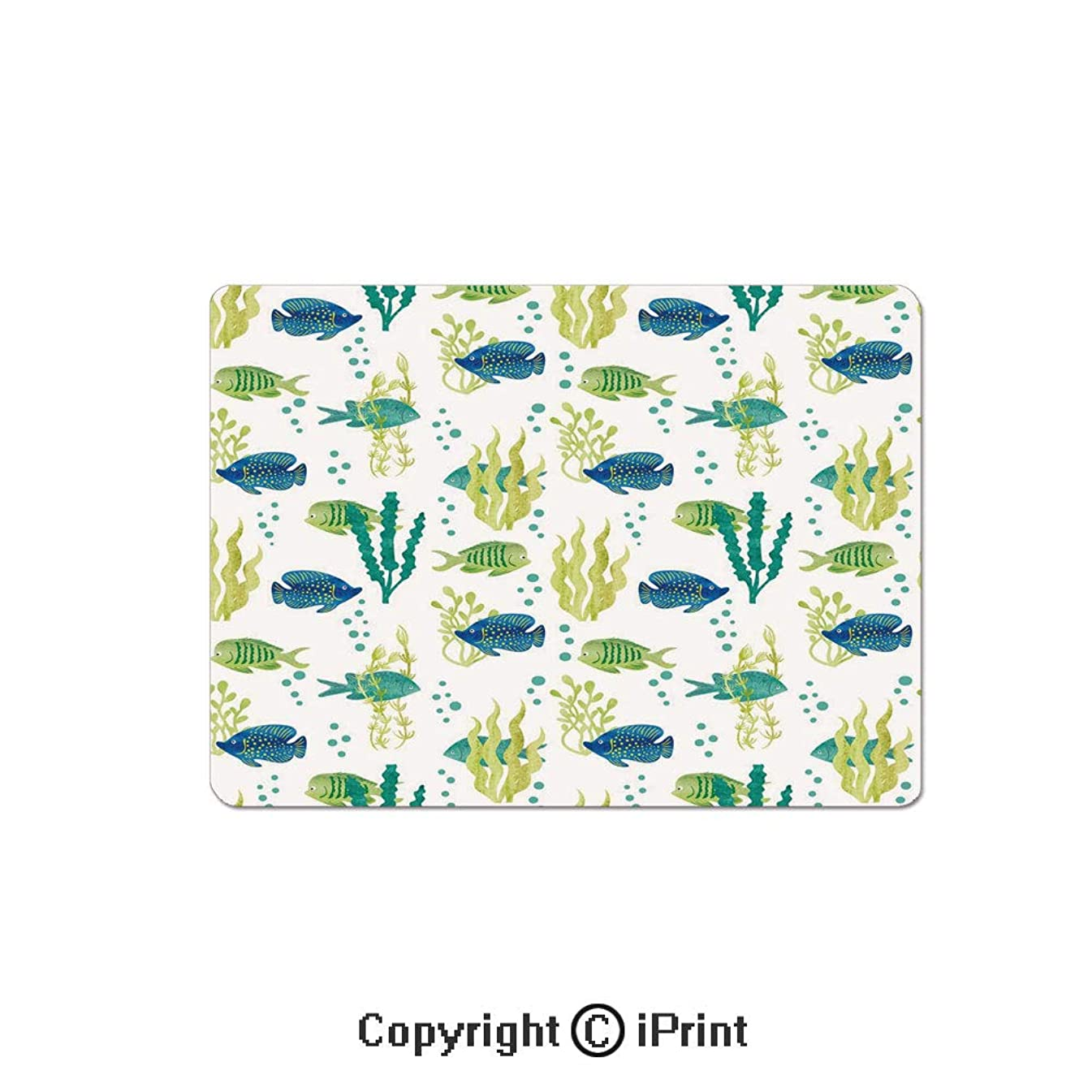 Gaming Mouse Pads, Different Tropical Fish and Seaweeds Exotic Marine Watercolor Artwork Decorative Non Slip Rubber Mousepad,7.1x8.7 inch,Avocado Green Teal Blue