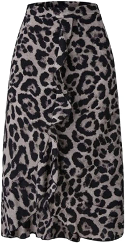 MOONRING Women Wear to Work Comfort Cotton Blend Leopard Midi-Long Skirt,Gray,S