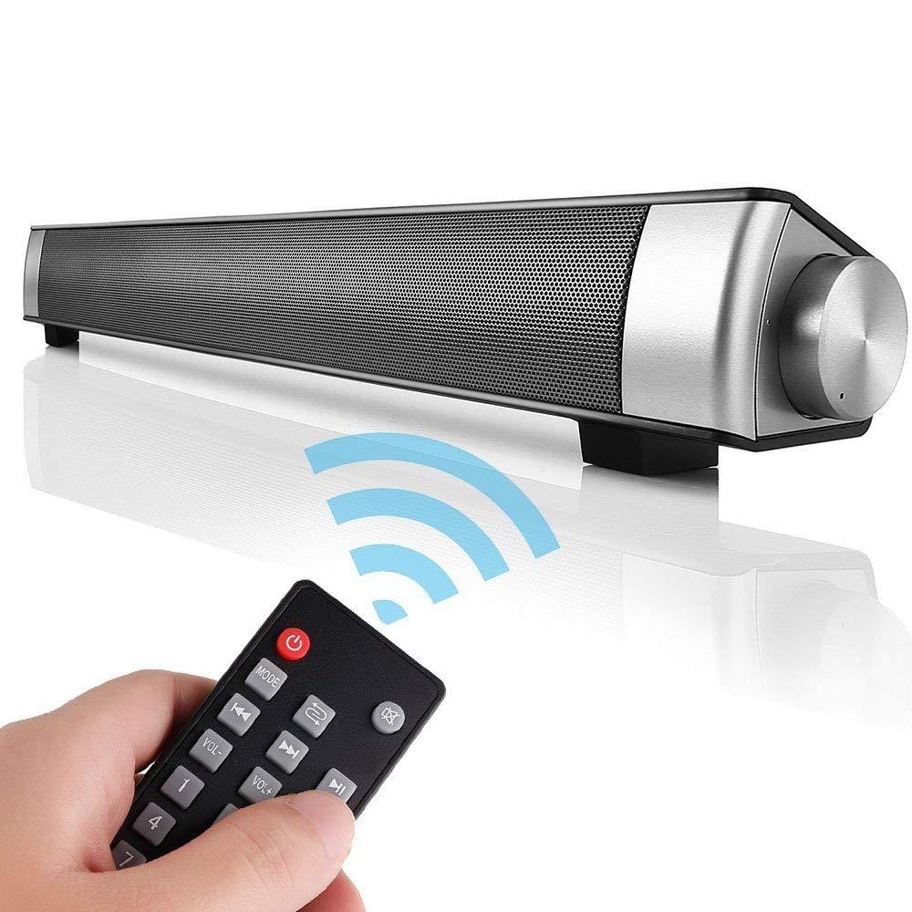 Barra de Sonido TV de Canal 2.0 de Bluetooth Inalámbrico con 3.5mm Aux Tarjeta TF LED indicador, Altavoz Estéreo de 10W con Incorporado Micrófono de Agudos Claros: Amazon.es: Electrónica