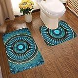 Set di 2 tappeti da Bagno Turchese, Verde Acqua Mandala Rotondo a Forma di U e Tappetino da Bagno per Bagno Assorbente, Antiscivolo