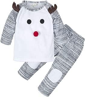 BIG ELEPHANT Unisex Baby 2 Pieces Cute Christmas Long Sleeve Tops Pant Set V10