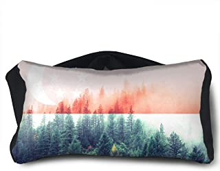 SUNNMOON Singapore Flag with Forest Neck Travel Pillow Support Scarf Voyage for Airplane Eye Mask, Travel Pillow and Eye Mask Washable Pillows