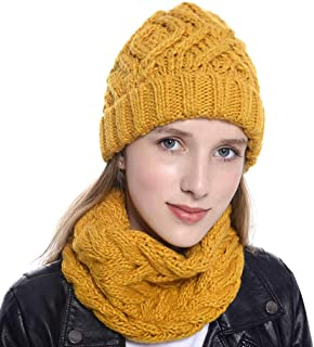 SHORY Women Two Pieces Knitted Set Fashion Solid Color Winter Beanie Hat Cozy Warm Outdoors Windproof Neckerchief Set
