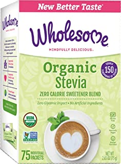 Wholesome Sweeteners Organic Stevia, 75-Count (Pack of 3)