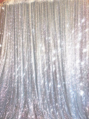 Trlyc 20 Ft X 10 Ft Silver Sequins Backdrop Curtain