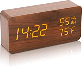 目覚まし時計 置き時計 木目 おしゃれ LEDデジタル 時計 アラームクロック 温度湿度計 カレンダー 記憶機能 USB給電式 インテリア プレゼントGoodView