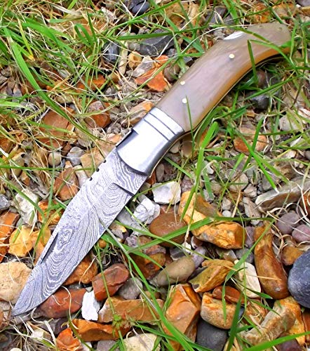 LAGUIOLE ARTISAN Damascus 5083 damast taschenmesser Schöne durchscheinende Wasserbüffel Knochen Damaskus Stahlmesser