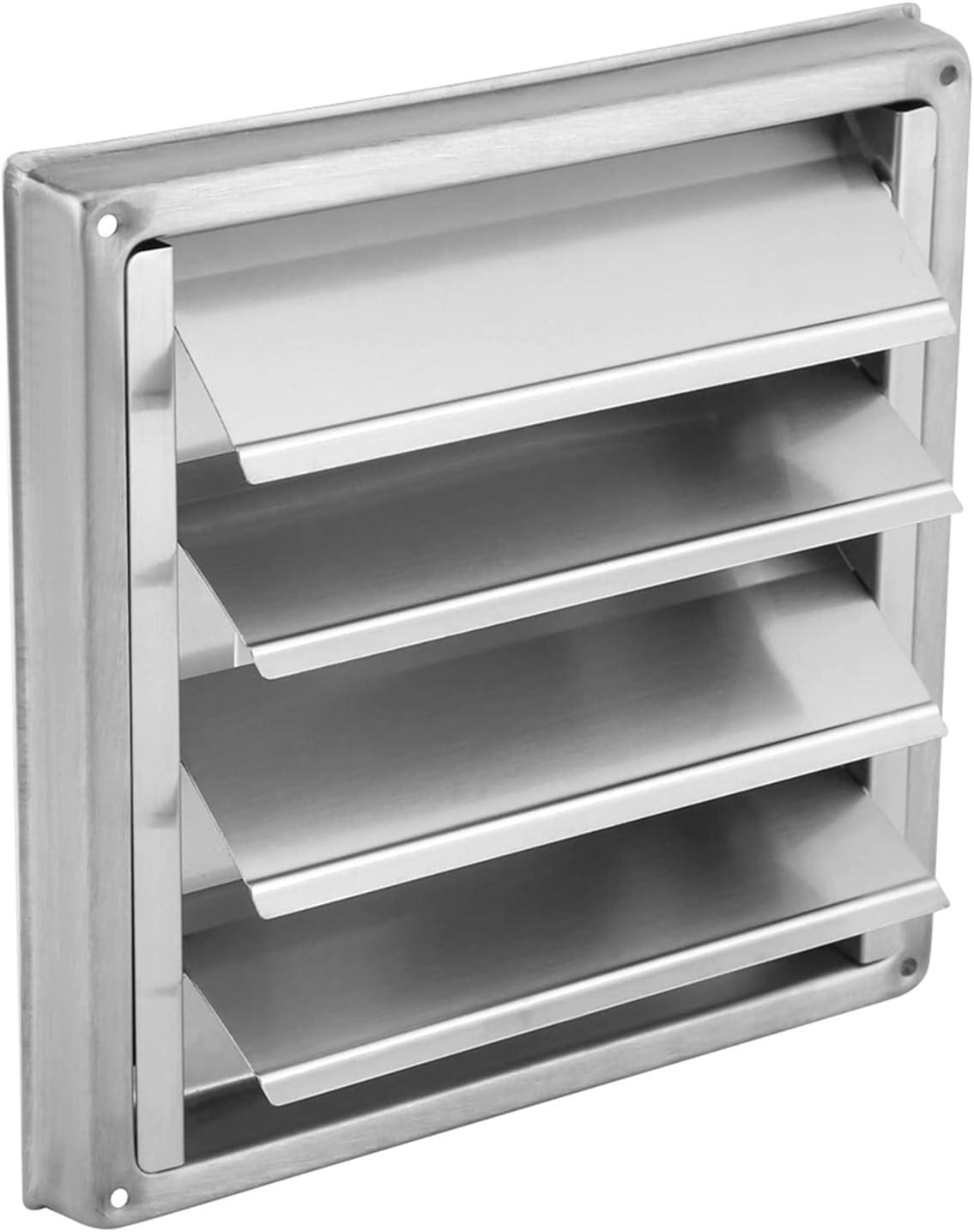 MIAOMIAO Plata 100 mm de ventilación de aire parrilla de acero inoxidable de acero inoxidable ventilación de ventilación cuadrada secadora secadora extractor ventilador salpicina salves de baño servic