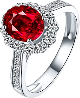 Women 18K White Gold Ring, 1.12/1.4CT Oval Shape Ruby Diamond Ring Wedding Anniversary Band