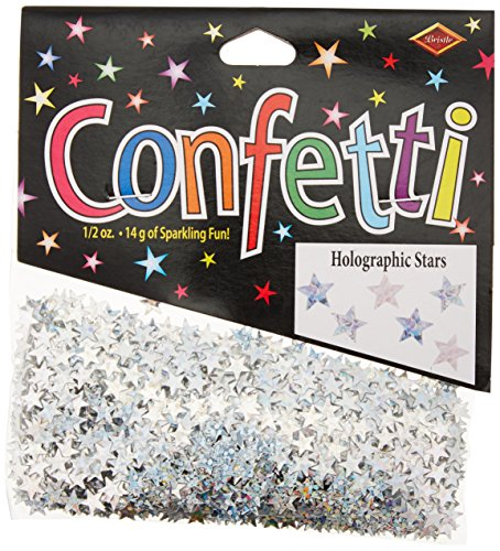 Beistle Silver Holographic Stars Confetti, 1/2-Ounce
