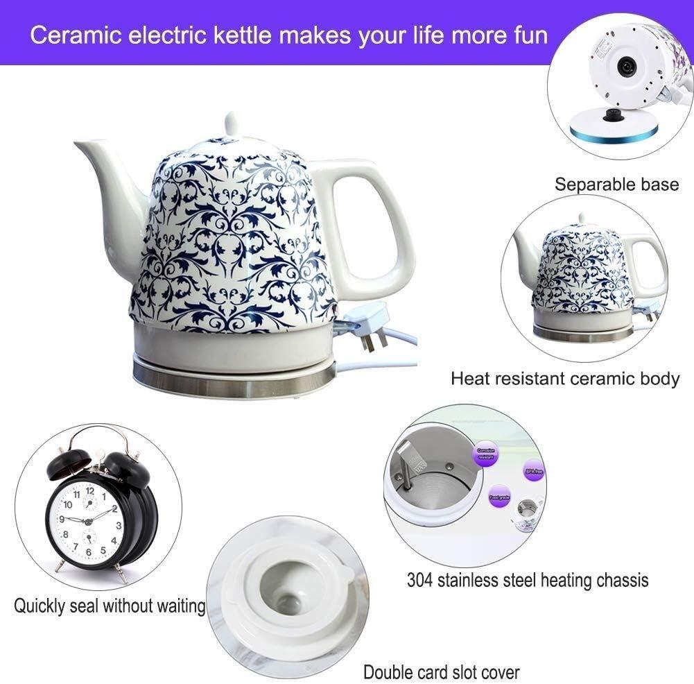 Leilims Céramique Bouilloire électrique sans Fil Eau Teapot, 1.2L Teapot-rétro Jug, 1200W Rapide Eau for Te Rapide (Color : A) A