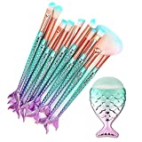 CINIDY Makeup Brushes Set 11pcs 3D Mermaid Makeup Brush Cosmetic...