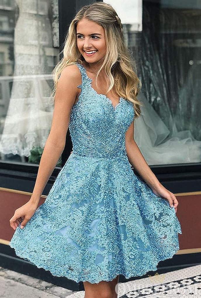 Promworld Women's Lace Appliques Short A-line Homecoming Dresses Graduation Party Dresses