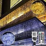 🍀【Lichterkettenvorhang strombetrieben】Warmweiß und Kaltweiß LED Lichtervorhang: Die LED Lichterkette Eisregen mit 440 LEDs Glühbirne bietet romantische Lichtwirkung. Es gibt 55 Lichterketten Lichtervorhang, jede Lichterkette hat 8 LEDs, jede Lichterk...