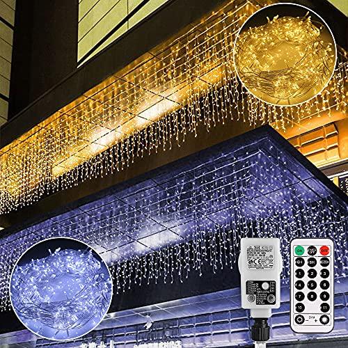 LED Lichtervorhang,B-right 12M 440 LED Lichterkette Eisregen Vorhang strombetrieben,Lichterkette außen&innen,Warmweiß und Kaltweiß Lichterkettenvorhang mit Fernbedienung,Weihnachten,Hochzeit,Party