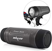 Outdoor Bluetooth Speakers Portable Bicycle Speaker Zealot S1 4000mAh Power Bank Splashproof Speakers with Microphone Full Outdoor Accessories (Bike Mount, Carabiner.)(Gray)