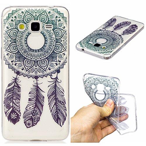 Qiaogle Telefono Case - Soft Custodia in TPU Silicone Case Cover per Samsung Galaxy Grand Prime G530 (5.0 Pollici) - HC03 / Blu Dreamcatcher