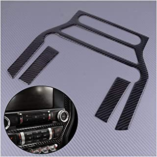 ZRNG 3Pcs Carbon Fiber Black Car Multi-media Console Panel Sticker Cover Moulding Trim Fit For Ford Mustang 2015 2016 2017...