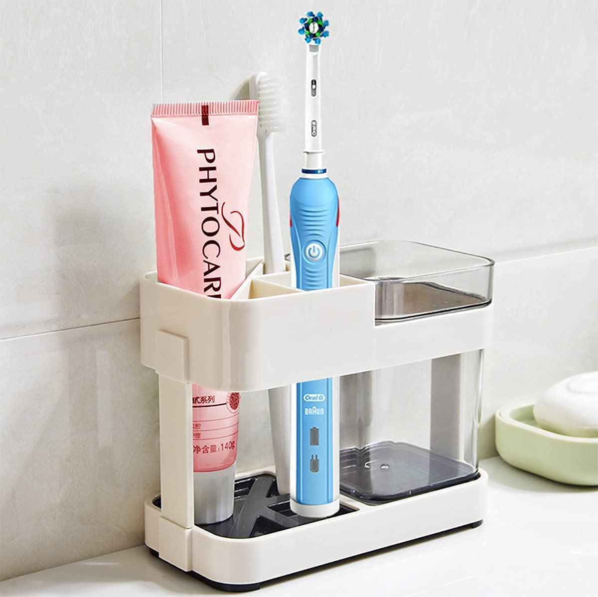 Toothbrush Holder Electric Tooth Brush Toothpaste Holder Bathroom Set Restroom Vanity Large Capacity Tooth Paste Accessories Storage Decor Cups Holder for Family Apartment(Contains 1 Cups)