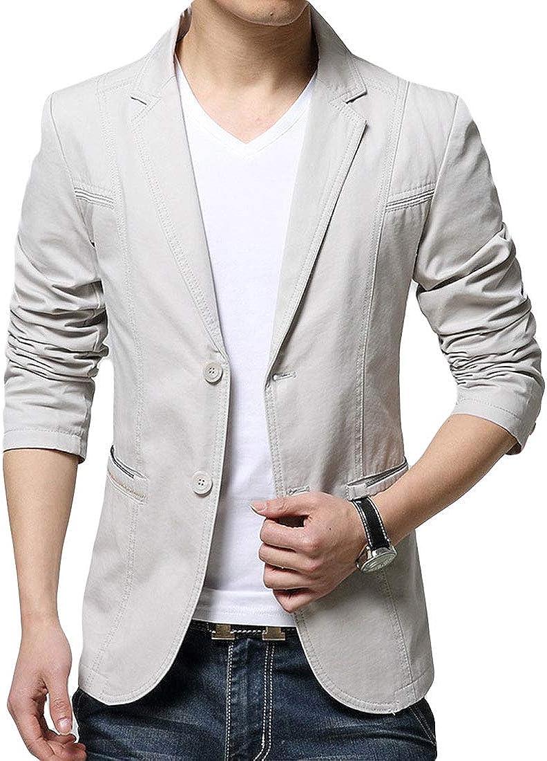 CHARTOU Men's Casual Slim Fit Long Sleeve Two Button Lapel Blazer Jackets Suits
