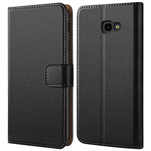 HOOMIL Handyhülle für Samsung Galaxy J4 Plus Hülle, Premium Leder Tasche Flip Schutzhülle für Samsung Galaxy J4+ Smartphone, Schwarz