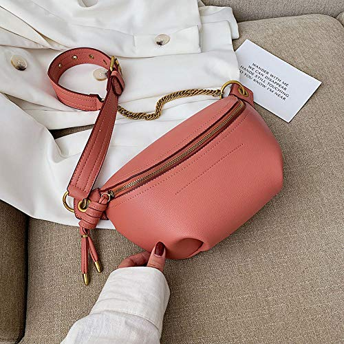 QTKJ Cute Fashion Leather with Letter Graffiti Waist Bag Belt Bags with Metalic Chain Shoulder Crossbody Bag Gifts for women Mom Girls Black