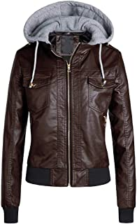 Women's Leather Jacket, Gothic Leather Coat Hoodie Autumn Winter Warm Fashion Casual Zip Pocket PU Jacket,d,L