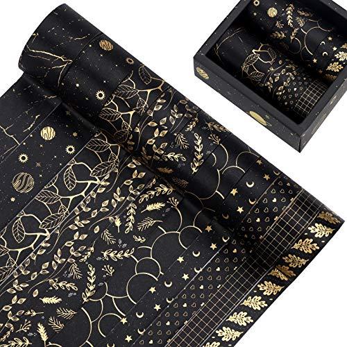 10 Rouleaux Washi Tape Set Masking Tape Feuille d'or Ruban Adhésif Décoratif pour Scrapbooking, Journal, Planning, Cadeaux, Artisanat de Bricolage (Noir)