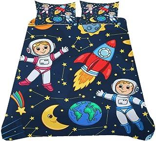 Juego de Cama 3D Dibujos Animados Astronauta Tema del Espacio Exterior Cohete Negro Azul Púrpura Multicolor Funda Nórdica con Cremallera, Niño Chico Adolescente (Estilo 1,150x200 cm - Cama 90 cm)