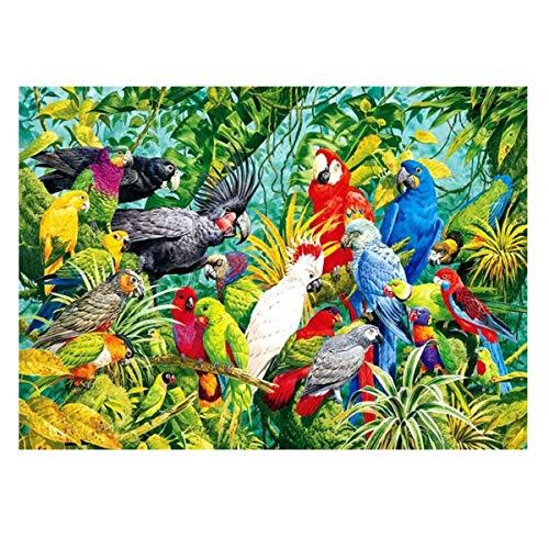 MXJSUA Kit de Pintura de Diamante 5D por número, Suministros de Imagen de Taladro Completo, artesanía, Pegatina de Pared para el hogar, decoración, pájaro Loro, 30x40cm
