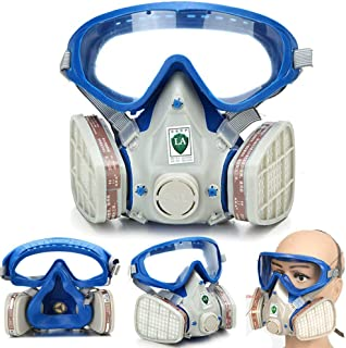 M.A.K Respirator Gas Mask with Eye Protection, Dust Mask with Filter Cartridges for Chemical Painting Spraying Protection
