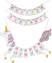 Sinboun 2PCS Unicorn Happy Birthday Banner, Happy Birthday Bunting, Party Supplies Decorations Magical Pastel Design with Sparkle Gold Glitter, Cute, Glossy and Pre-assembled
