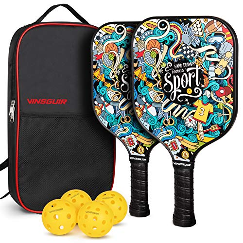 Vinsguir Pickleball Paddles Set, Pickleball Paddle Set of 2 Rackets and 4 Balls for Outdoor and Indoor, Lightweight Pickleball Racquet with Portable Pickleball Bag for Men and Women