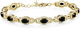 Gem Stone King 7.89 Ct Oval Black Onyx 18K Yellow Gold Plated Silver 7 Inch Tennis Bracelet with 1 Inch Extender