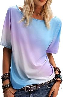 Camisas de teñido Anudado para Mujer Gradient Rainbow Top Blusa de Manga Corta de Verano Blusa Suelta Tops