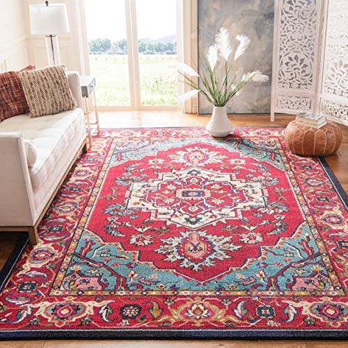 Safavieh Monaco Collection MNC207C Boho Oriental Medallion Non-Shedding Stain Resistant Living Room Bedroom Area Rug, 8' x 10', Red / Turquoise