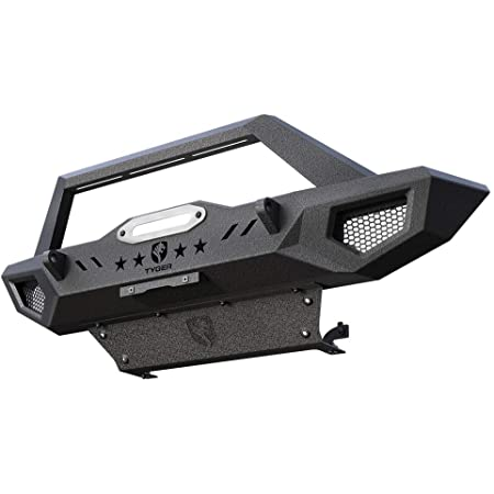 Tyger Auto TG-BP6J80068 Tyger Fury Front Bumper Kit w/Skid Plate Winch Plate Compatible with 2007-2018 Jeep Wrangler JK; 2018-2021 JL (Excl. Diesel & Hybrid); 2020-2021 Gladiator JT | Textured Black