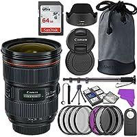 Canon EF 24–70mm f / 2.8l II USMレンズバンドルwithアクセサリーキット(17アイテム)