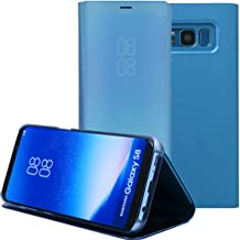 Priefy Kickstand Mirror Luxury Electroplate Plating Smart Clear View Flip Case Cover Compatible for Samsung Galaxy S8 Plus (Blue)